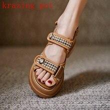Krazing Pot sprawdź tkaniny skóra naturalna peep toe płaski obcas obuwie gingham superstar hook loop kobiety sandały duży rozmiar