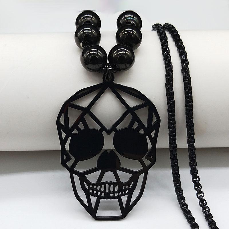 Collier tete de mort perle noir 5