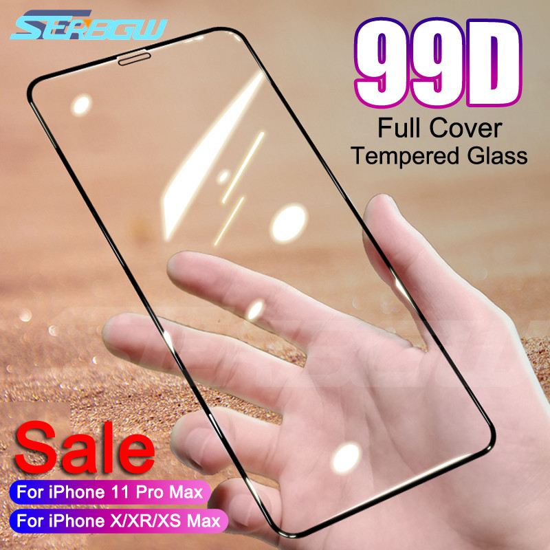 New 99D Full Cover Tempered Glass On The For IPhone X XR XS 11 Pro Max Screen Protector For IPhone 8 7 6 6s Plus Protection Film