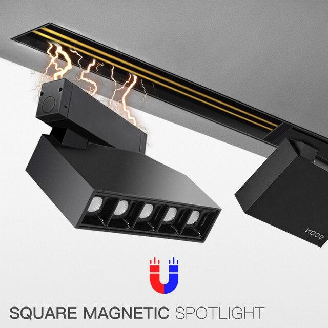 SCON imán serie 7W DC24V 90 °, ajustable, 350 grados, giratorio, cuadrado, foco de pista magnético fuerte