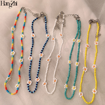 HangZhi 2021 New 5 pcs/set Daisy Flower Colorful Beads Clavicle Choker Necklace for Women Girls Spring Summer Jewelry Wholesale 1