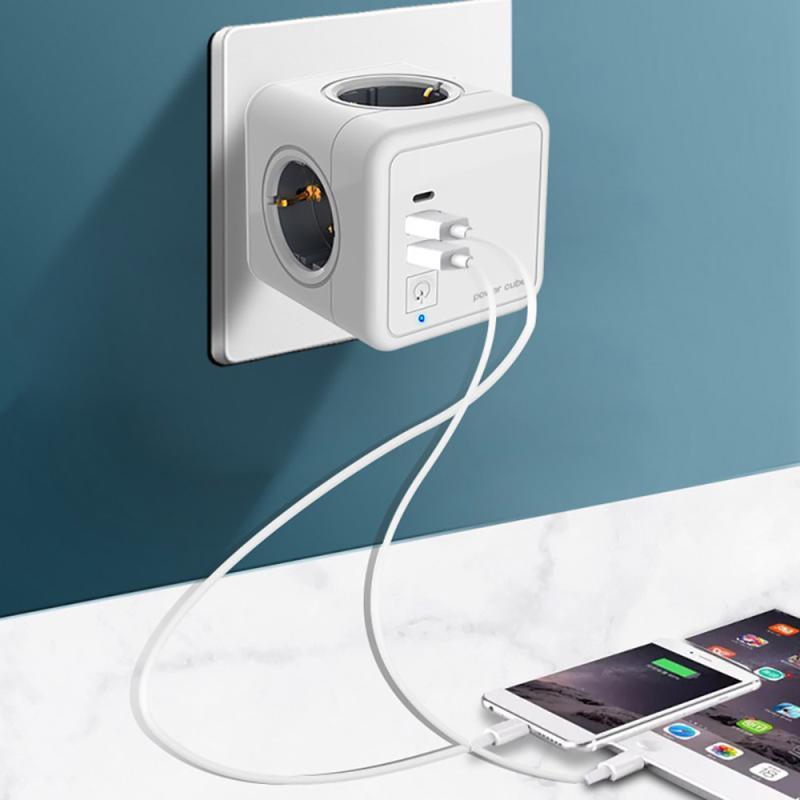 Сетевой фильтр с европейской вилкой и USB-разъемом, умное зарядное устройство для путешествий и дома, адаптер с 4 розетками, настенный держате...
