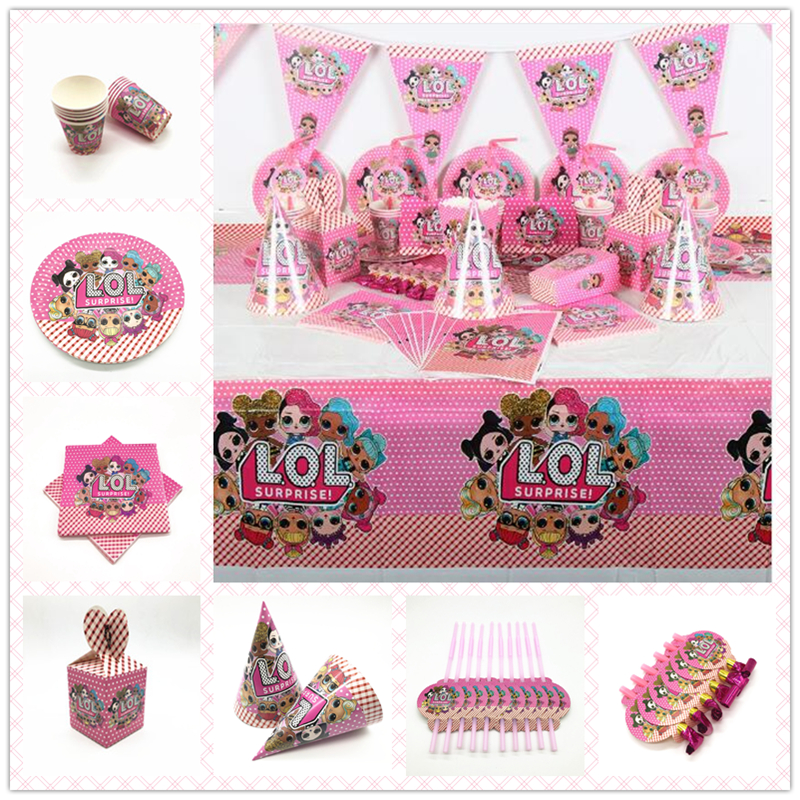 Surprise Doll Birthday Party Decorations Kids Favor Gift Bag Balloon Paper Cups Plate  Baby Shower Disposable Tableware Supplies