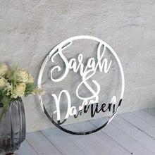 Cerceau de signe de mariage personnalisé, panneau mural avec accessoires Photo pour la mariée et le marié, décor en acrylique avec nom, réception