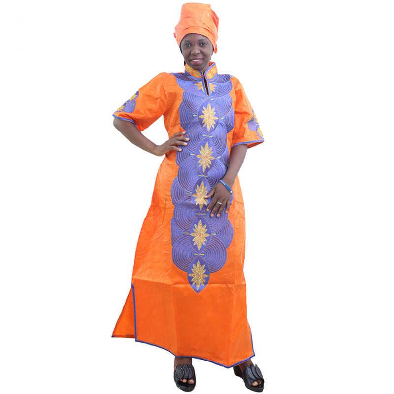 MD אפריקאי שמלות לנשים 2020 חדש אפריקאי רקמה ארוך שמלת נשים אפריקאיות דאשיקי שמלה עם ראש כורכת נשים בגדים
