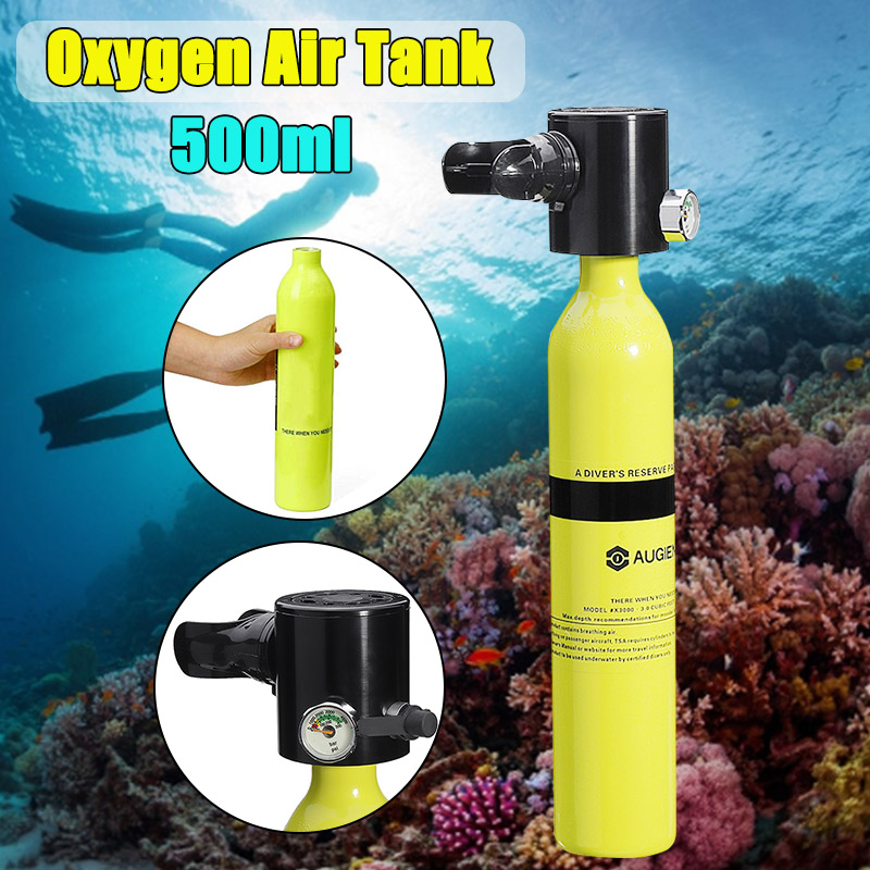 AUGIENB 500ML Mini Air Tank Scuba Cylinder Diving Equipment Underwater Breath Oxygen Tank With Respirator