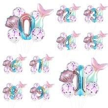 1 ensemble de ballons de fête en forme de sirène, 32 pouces, en aluminium, à hélium, décorations de fête d'anniversaire pour enfants, décor de fête prénatale, vendu à chaud