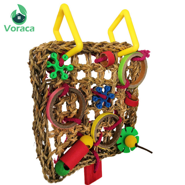 Bird Climbing Net Parrot Toys Woven Seagrass Biting Hanging Hemp Rope Swing Play Ladder Chew Foraging Colorful Funny Parrot Toys 5