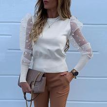 Женская сетчатая рубашка с жемчужинами и рукавами-фонариками, новая сексуальная рубашка, перспективная открытая рубашка с круглым вырезом, модная блуза с принтом и длинными рукавами