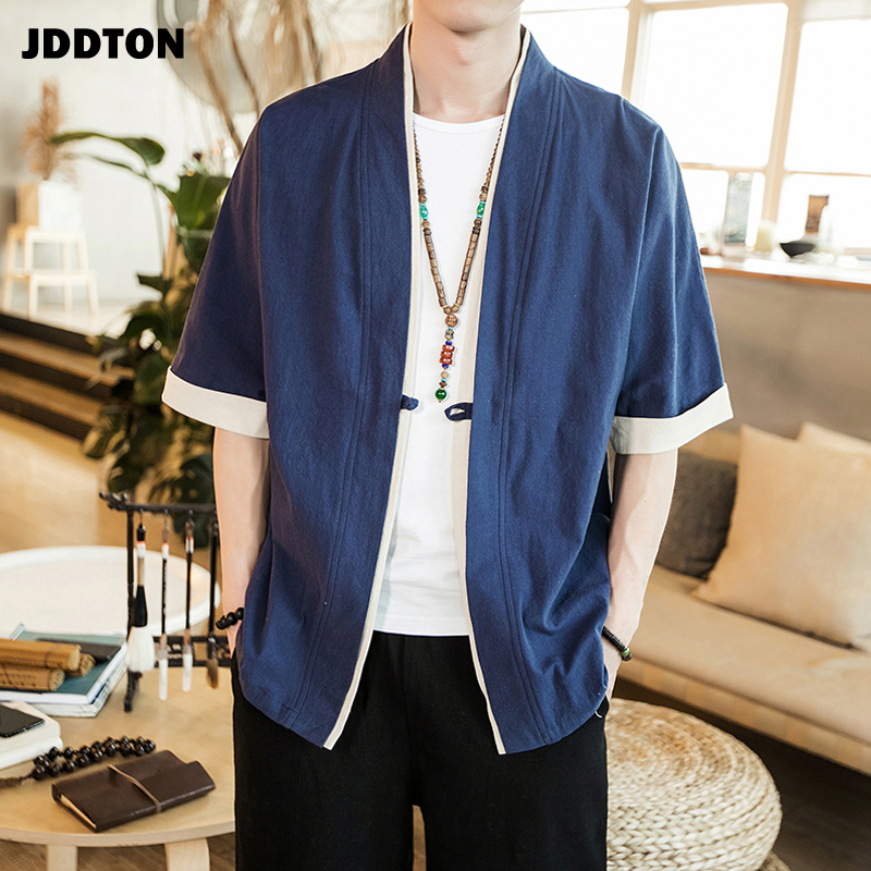 JDDTON Summer Men's Linen Kimono Long Cardigan Outerwear Coats Fashion Streetwear Short Loose Male Jackets Casual Overcoat JE005