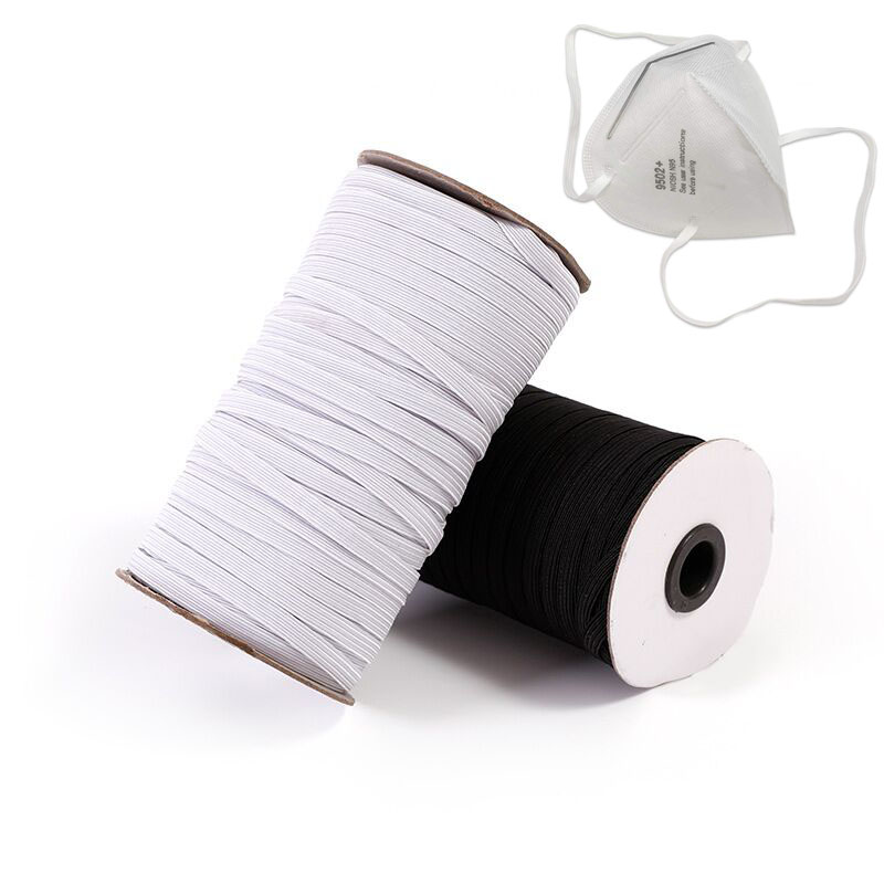 3mm 5mm 6mm Elastic Band Masks Rope 8/10/12MM White Black High Elastic Flat Rubber Band Waist Band Sewing Rope For DIY Mask