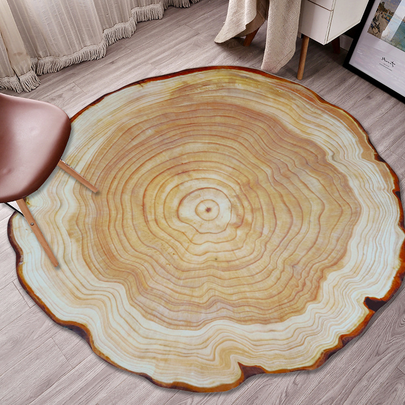 Cilected Round Wood Carpet 3D Printing Living Room Bedroom Wood Pile Annual Ring Mat Kitchen Bathroom Non-Slip Waterproof Rugs