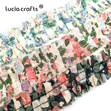 Lucia Crafts 30mm 3y/Lot Vintage Floral  Printing Garment Lace  Girl DIY Headband Ribbon Sewing Supplies X0320