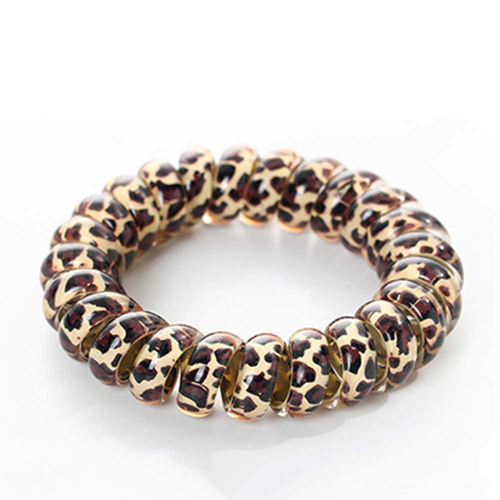 Bandas elásticas para el cabello de leopardo forma espiral Cola de Caballo lazos de goma para el pelo banda de goma cuerda para el cabello cable de teléfono accesorios para el cabello diadema