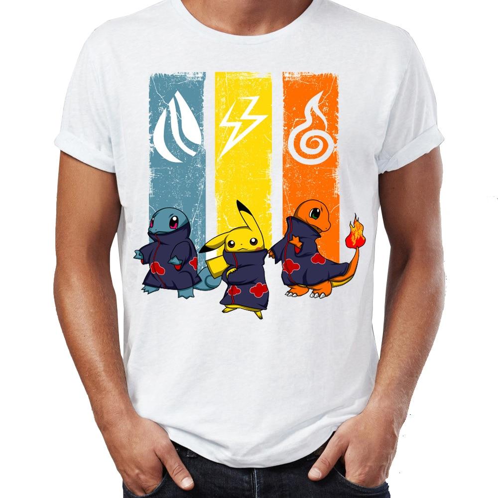 Marvel Men T Shirts Naruto Pokemon Squirtle Charmander Pikachu Akatsuki Awesome Artwork Printed High Street Tee Shirts