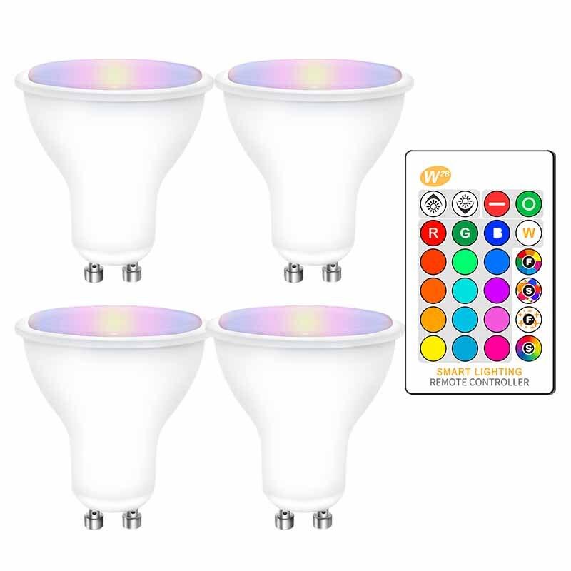 4 pces gu10 rgb lâmpadas led 8w gu10 rgbw rgbww conduziu a lâmpada branco/branco morno gu 10 com 16 cores ir função de memória de controle remoto