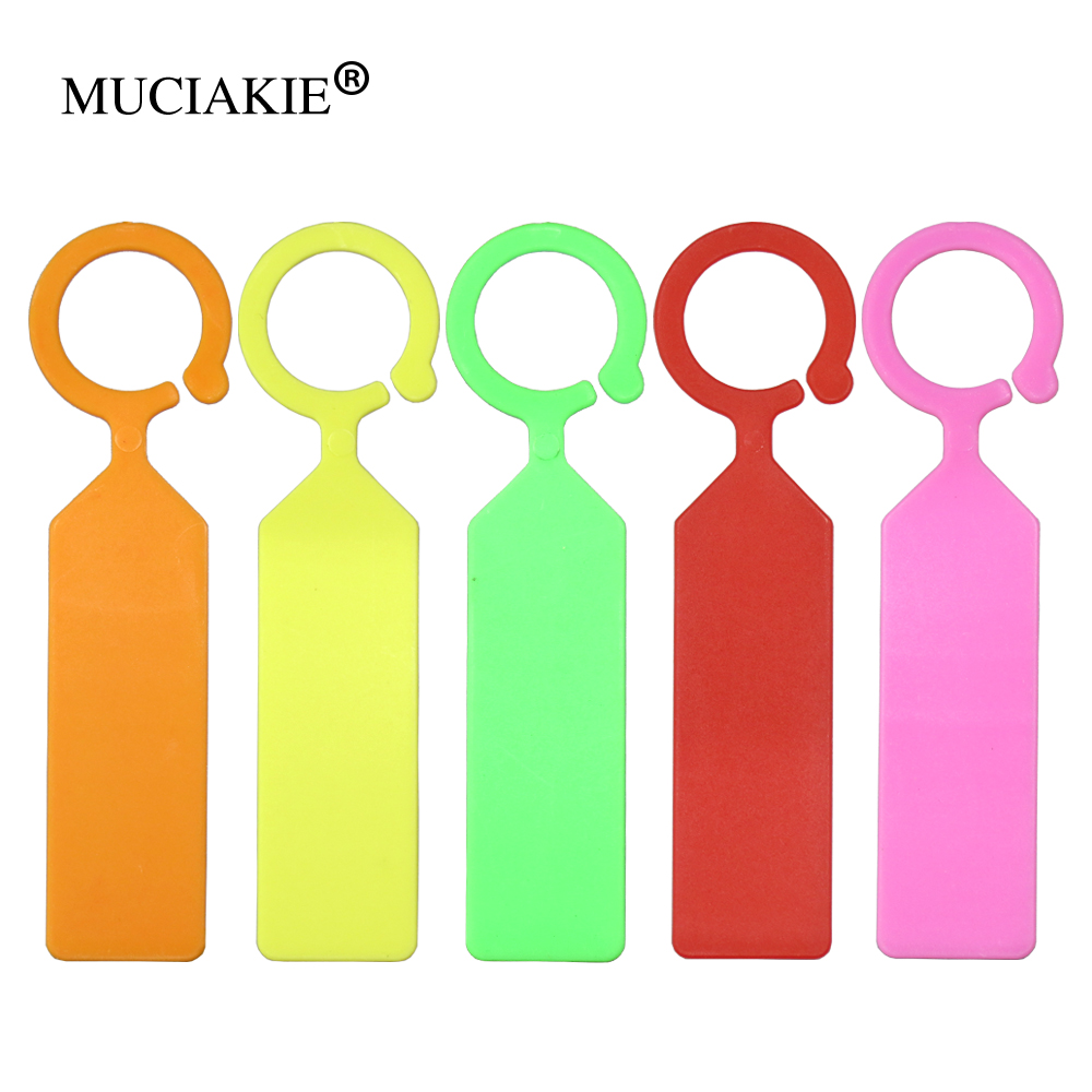 MUCIAKIE 50PCS Ring Plastic Hanging Labels Garden Plant Pot Markers Reusable Waterproof Thick Hook Tree Tags Decoration Tool