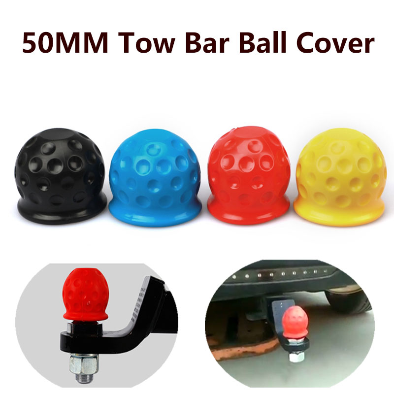 4 Colors Universal 50MM Tow Bar Ball Cover Cap Trailer Ball Cover Tow Bar Cap Hitch Trailer Towball Protect Car Accessories
