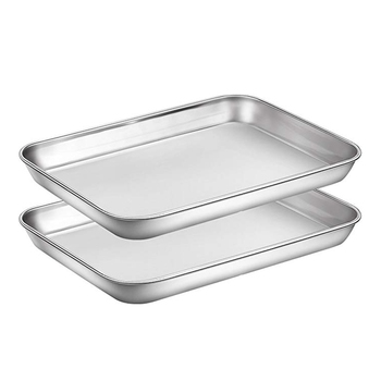 2 Pcs Baking Sheets Set Chef Cookie Sheets Stainless Steel Baking Pans Toaster Oven Tray Pans Easy Clean Baking Dishes Kitchen S