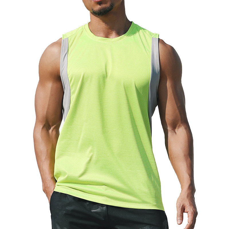 running - 2020 Newest Men Running Vest Polyester Workout T-shirt Quick Dry Sports Tank Tops Men Solid Loose Tees Bodybuilding Vest M-XXXL
