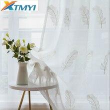 Tule Gordijnen Voor Woonkamer Elegante Veer Keuken Gordijn Voor Slaapkamer Home Decoratieve Window Klaar Gemaakt Gordijn Aangepaste