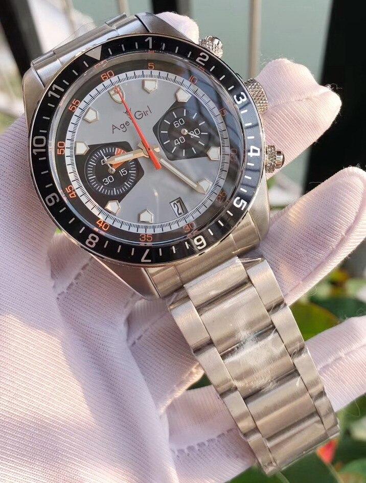 Luxury Brand New Men Black Grey Blue Japanese Quartz Chronograph Sapphire Stainless Steel Watch Luminous Ceramic Bezel Daydate
