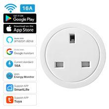 Reino unido 16a tomada inteligente wi fi inteligente tomada monitor de energia função de temporização vida inteligente app controle remoto funciona com alexa casa do google