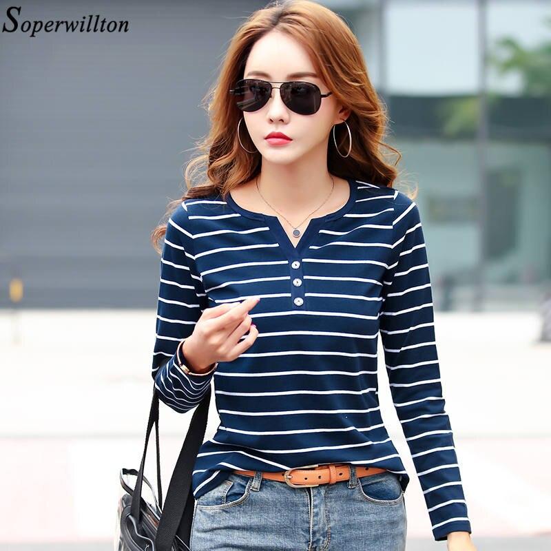 Cotton T Shirt Women Striped Top Tee 2019 Spring Autumn Long Sleeve V neck Tshirt Lady Plus Size White Blue Slim Female Blusa T9