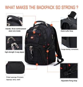 "Image 2 - Crossten 17"" Laptop Backpack Waterproof USB Charge Port Swiss style Multifunctional Rucksack Schoolbag Mochila Hiking Travel bag"