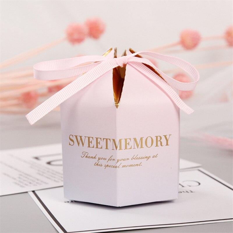 Européen dégradé papier boîte à bonbons faveurs de mariage et cadeaux boîtes mariage bébé douche anniversaire invités fête décoration fournitures