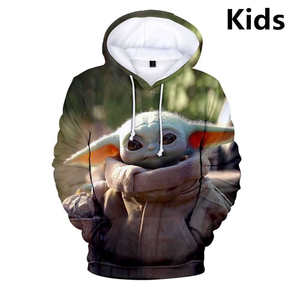 3 To 14 Years Kids Hoodies The Mandalorian Baby Yoda 3d Printed Sweatshirt Hoodie Boys Girls Outerwear Cartoon Children Clothes