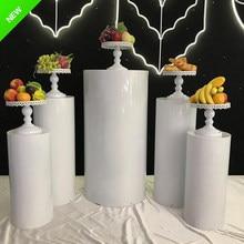New product white mental pedestal display pedestal table stand cylinder pedestal display art decoration wedding pillar