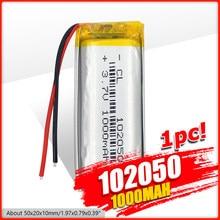 1000mah akumulator litowo-polimerowy 3.7 V 102050 dla MP3 MP4 MP5 GPS KTV wzmacniacz baterii gospodarstwa domowego audio mikrofon komputerowy