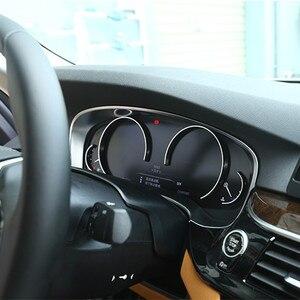 Image 2 - פחמן כרום רכב לוח מחוונים רדיאטור מד מרחק קישוט מסגרת כיסוי Trim מדבקה עבור BMW 5 סדרת G30 G38 530li 520Li 2018 2020