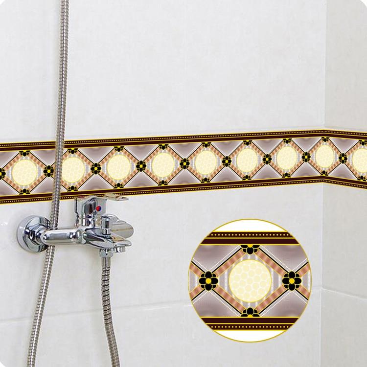 Geometric Pattern Waterproof Self Adhesive Wallpaper Border Living Room Bathroom Kitchen Floor Baseboard Waistline Wall Sticker