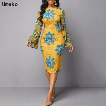 Umeko 2020 African Dresses for Women Dashiki Print News Tribal Ethnic Fashion O-neck Ladies Clothes Casual Sexy Dress Robe Party tribal print tassel dress