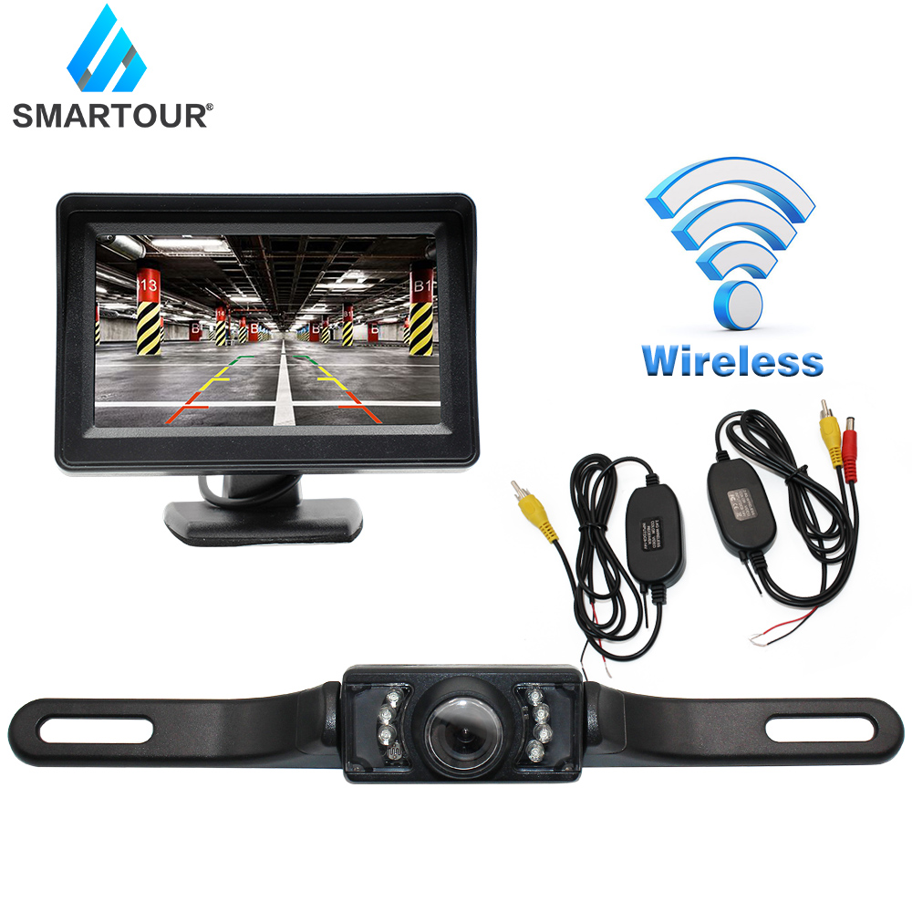 Smartour Car Rear View Camera Reversing Parking System Kit <font><b>4.3</b></font> <font><b>inch</b></font> Car Rearview <font><b>Monitor</b></font> Night Vision Backup Camera Car screen image