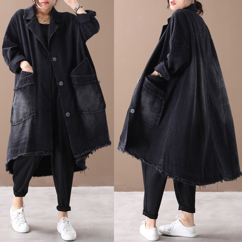 2019 female new autumn and winter plus size Korean style retro personality outerwear do-old loose denim   trench