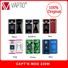 Original Vaptio CAPT'N 220W VAPE Box Mod Vaporizer For 510 Thread Vape 18650 Electronic Cigarette Mods Support RTA RDA RDTA недорого