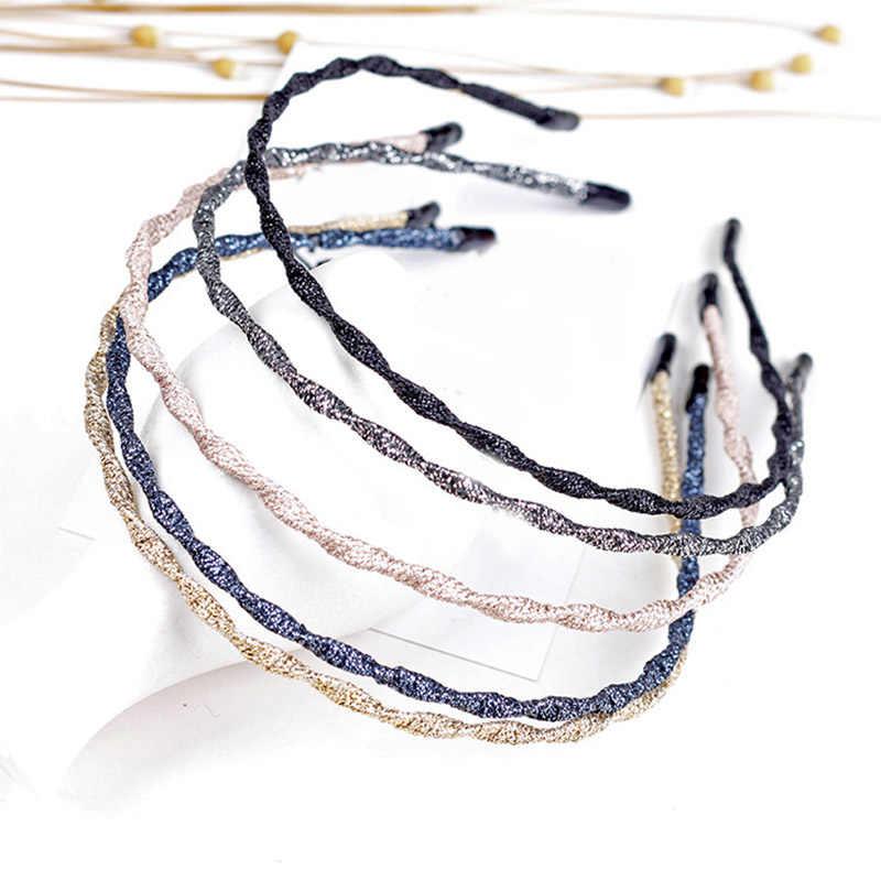 1 pieza de moda hecha a mano de Metal colores brillantes para mujer diademas de pelo ondulado Super Delgado personalidad chicas Chic brillantes diademas