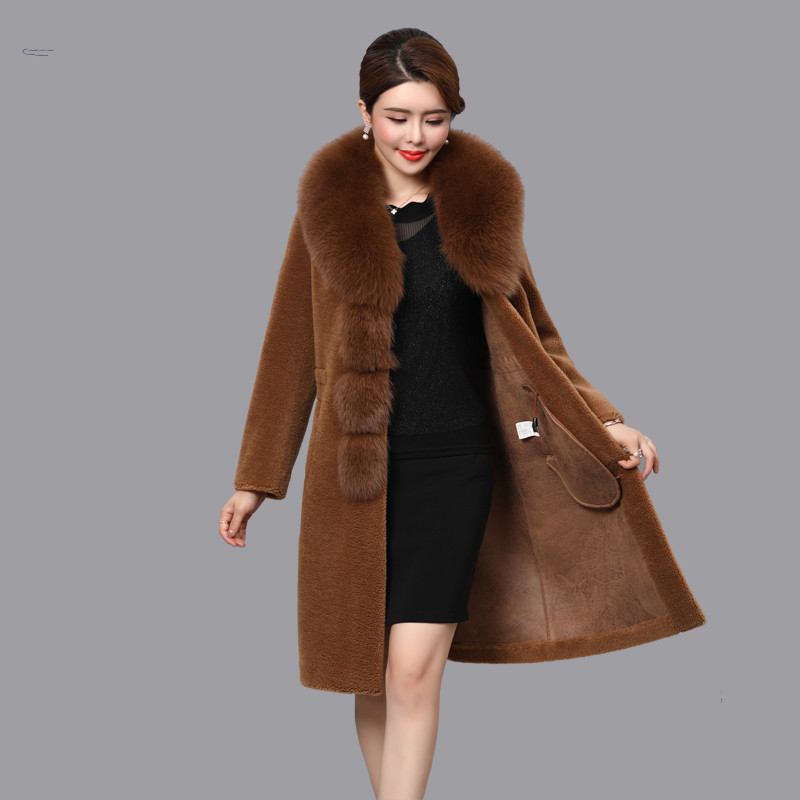 Wool 100% Coat Female Real Fox Fur Collar Sheep Shearling Fur Winter Jacket Women Korean Long Coats Suede Lining MY3707 S