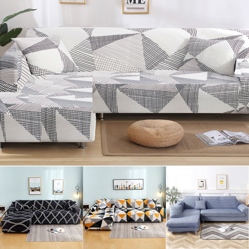 L shape white geometric sofa covers spandex for living room couch cover corner sofa cover chase long cover elastic material image
