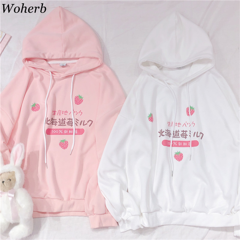 Woherb Harajuku Kawaii Hoodies Women Sweatshirt Japanese Style Cartoon Strawberry Print Graphic Pink White Hoodie Pullover 2020