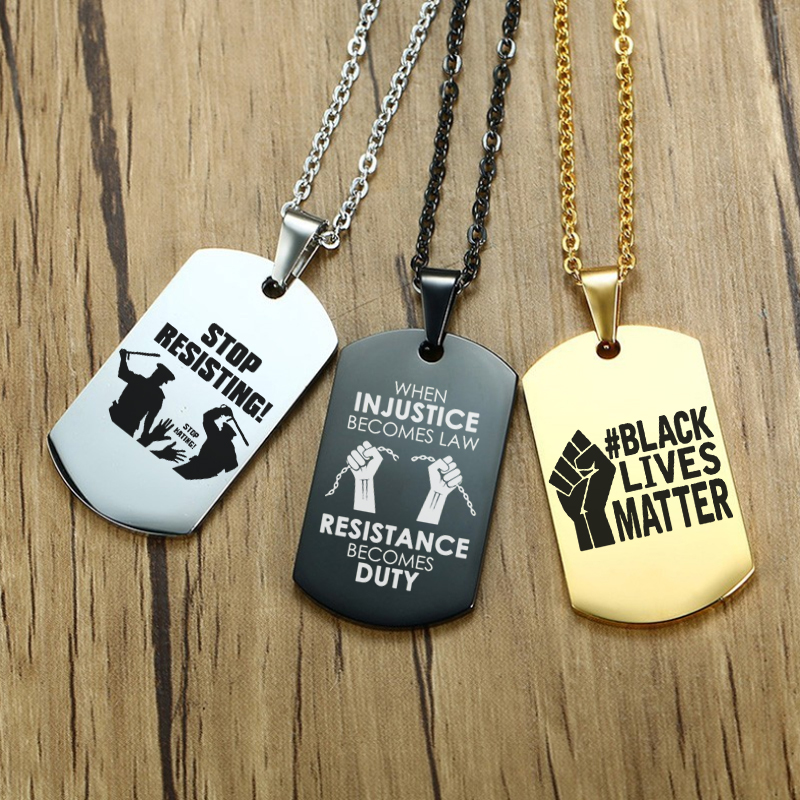 Fist Black Lives Matter Necklace Hip Hop Stainless Steel Pendant Necklaces African American Protest Jewelry Accessories