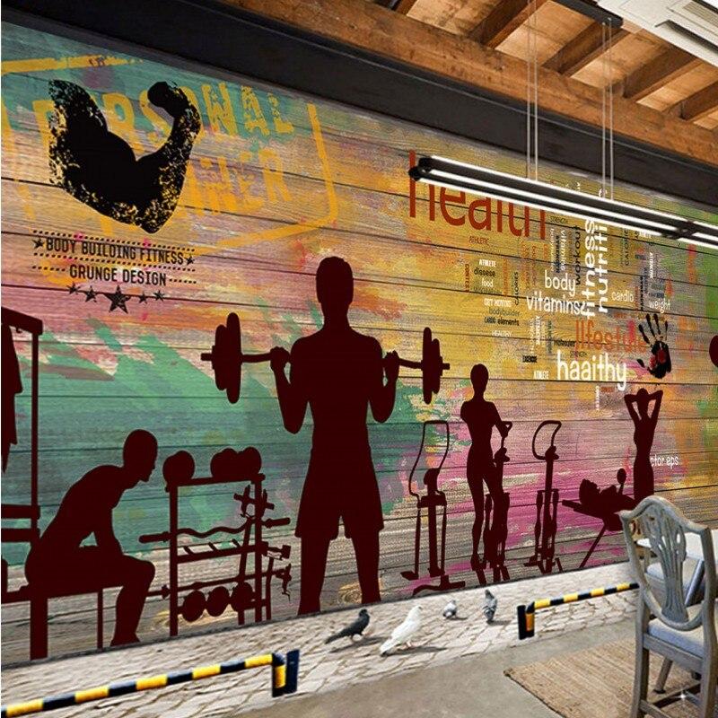 Livraison directe livraison directe papier peint personnalisé rétro Graffiti Vintage planche Sport Fitness Club Image mur Graffiti papier peint - 4