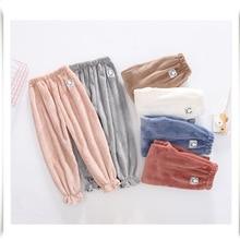 Зимняя Пижама для девочек, свободные штаны для сна для девочек, плотные Фланелевые брюки для детей от 3 до 13 лет, темная Осенняя Домашняя одежда, теплая одежда