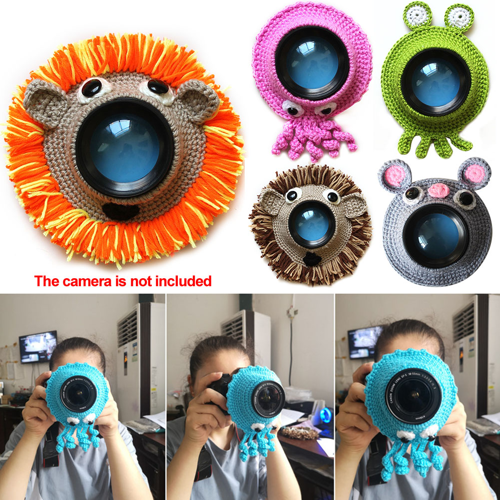 Camera Buddies Handmade Teaser Toy Pet Kid Cute Animal Knitted Shutter Hugger Posing Photography Props Child Lens Accessory
