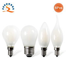 Frosted E12 E14 E26 E27 B22 led light bulb 2W 4W 6W Dimmable 110V 220V Candle Flame Edison Filament glass bulb clear lamp