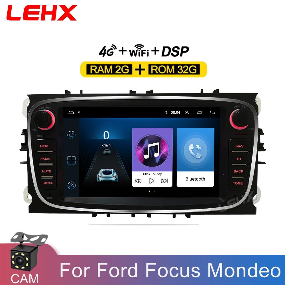 LEHX Car Android 9.0 2 Din Radios Car Multimedia player 2 Din 7 ''Autoradio DVD RAM2GB For Ford Focus S-Max Mondeo Galaxy C-Max(China)