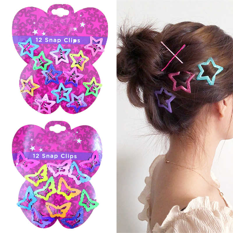 12PCS/Set Kids Children Star BB Clips Asymptotic color Pentagram Colors HairClips Butterfly Glitter Candy Color Hair Accessories